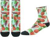 J'colour Mens Boys Digital Printed Looped Pile Damping Full Terry Pineapple Half Calf Halloween Groomsmen Socks 1 Pair