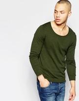 Asos Scoop Neck Sweater in Khaki Cotton