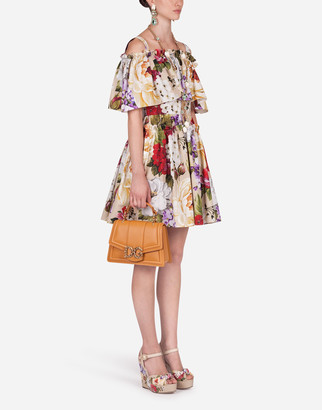 Dolce & Gabbana Short Floral-Print Poplin Dress