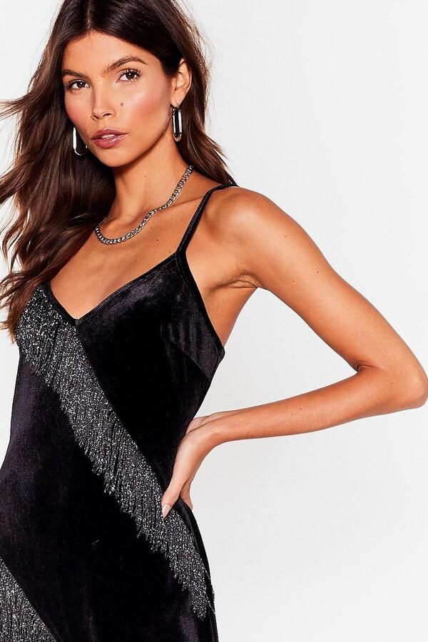 Thumbnail for your product : Nasty Gal Womens Velvet Fringe Sleeveless Maxi Dress - Black - 6