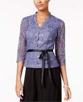 Alex Evenings Sequined Lace Ribbon Blouse