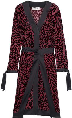 Diane von Furstenberg Pianna Tie-front Satin-trimmed Flocked Chiffon Dress