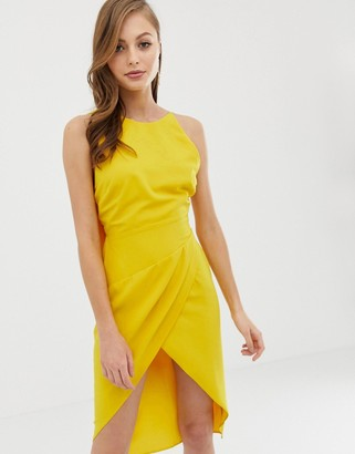 ASOS DESIGN midi dress with drape open back in satin