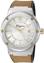 Salvatore Ferragamo Men's 'F-80' Swiss Quartz Stainless Steel and Leather Casual Watch, Color:Beige (Model: FIF080016)