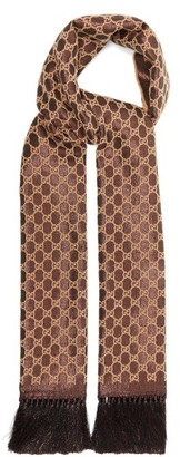 Gucci Fringed Gg And Lurex Wool-blend Scarf - Womens - Brown Multi