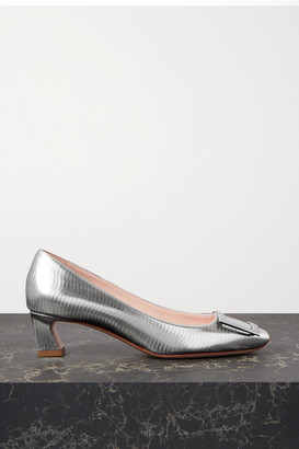Roger Vivier Belle Vivier Trompette Metallic Textured-leather Pumps - Silver