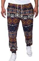 Zhhmeiruian Mens Drawstring Pockets Linen Printing Pants Trousers Loose Fit
