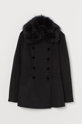 H&M Coat with a faux fur collar