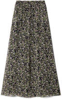 Paul & Joe Imagine Floral-print Silk-crepon Maxi Skirt - Black
