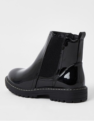 River Island Girls Patent Chunky Chelsea Boots - Black