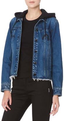 Evisu Seagull Embroidered Denim Jacket With Detachable Hood