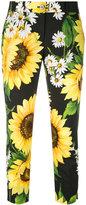 Dolce & Gabbana sunflower cropped trousers - women - Cotton - 40