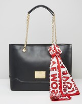 Love Moschino Tote Bag With Chain And Logo Scarf