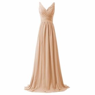 Ai.Moichien Sexy V-Neck Bandage Back Chiffon Long Evening Prom Tailing Dresses Full Length Champagne Gold