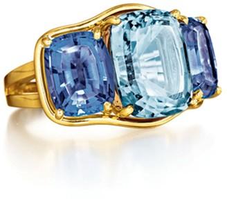 Verdura Aquamarine and Iolite Three Stone Ring