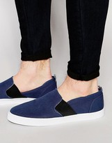 Asos Slip On Plimsolls In Navy With Elastic And Floral Lining