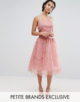 Chi Chi London Petite Allover Lace Tulle Full Prom Midi Skirt