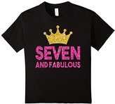 Kids 7th Birthday Shirt For Girls: Seven Princess Crown Gift