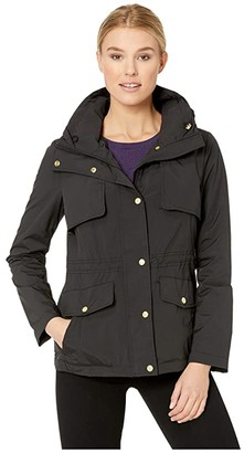 Cole Haan Travel Packable Zip Front Jacket with Front Placket and Snaps (Black) Women's Coat