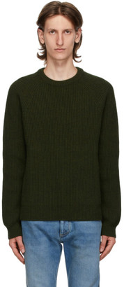 Maison Margiela Green Wool Cardigan Stitch Sweater