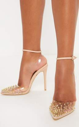 PrettyLittleThing Nude Studded Clear Court Shoes