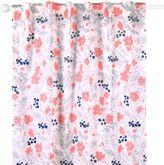 The Peanut Shell Floral Blackout Window Curtain Panel Pair in Coral