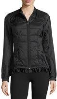 Charlie Jade Frill-Hem Puffer Jacket, Black
