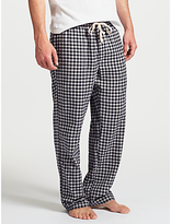 John Lewis Boxwell Gingham Check Brushed Cotton Lounge Pants, Grey