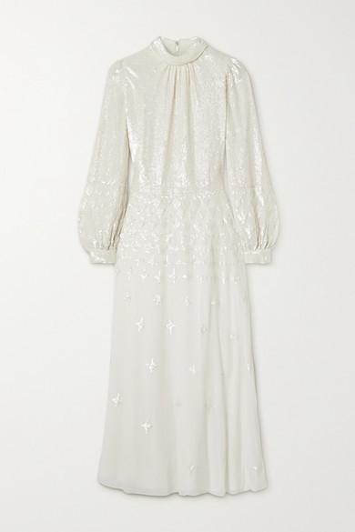 Temperley London Mirella Sequin-embellished Crepe De Chine Midi Dress - Off-white