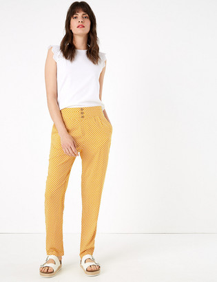 Marks and Spencer Geometric Tapered Ankle Grazer Trousers