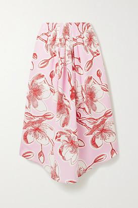 Stine Goya Blossom Floral-print Silk-satin Midi Skirt - Baby pink