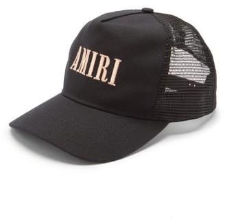 Amiri Logo-embroidered Cotton-canvas Trucker Cap - Black