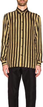Versace Logo Stripe Shirt in Black & Gold | FWRD