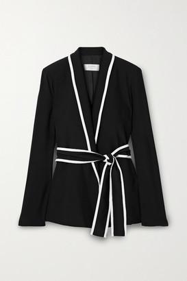 La Ligne Le Tuxedo Two-tone Crepe Wrap Jacket - Black