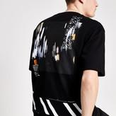River Island Mens Black reverse printed boxy fit T-shirt