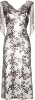 Paco Rabanne Floral Print Chain Mail Midi Dress