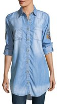 Tolani Tina Denim Embroidered-Back Tunic, Plus Size