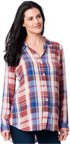 A Pea in the Pod Maternity High-Low Plaid Shirt