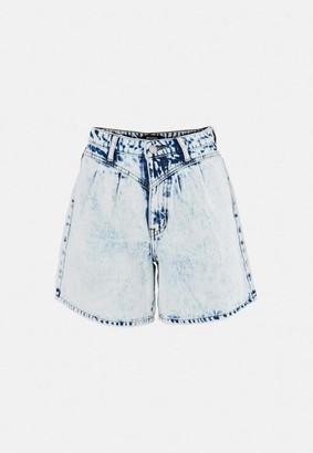 Missguided Light Blue Balloon Fit Denim Shorts