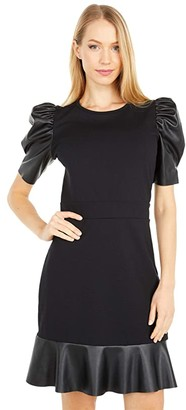 MICHAEL Michael Kors Ponte Leather Mix Ruffle Dress (Black) Women's Dress