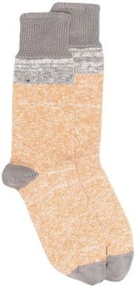 YMC Colour Block Contrast Knit Socks