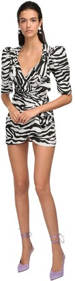 ATTICO Zebra Draped Mini Dress W/Buckle Details