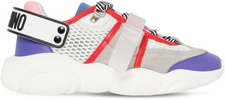 Moschino 30mm Teddy Mesh & Suede Sneakers