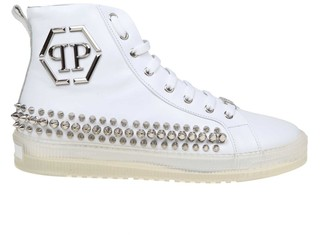 Philipp Plein Sneakers Hi-top Studs In White Color Leather