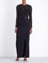 Elie Saab Bead-embellished silk and crepe gown