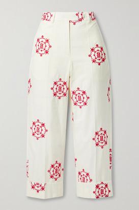 Simone Rocha Cropped Embroidered Cotton-poplin Straight-leg Pants - White