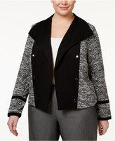 Calvin Klein Plus Size Open-Front Military Blazer