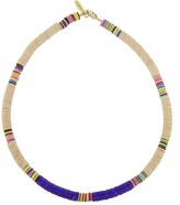 Allthemust Medium Peach and Purple Heishi Bead Necklace - Yellow Gold