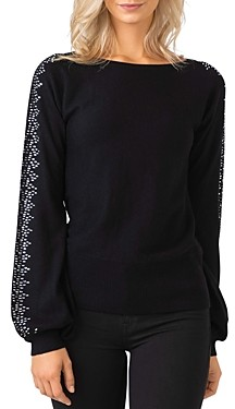 Belldini Embellished Blouson Sleeve Sweater