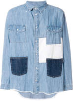 MSGM patched denim shirt